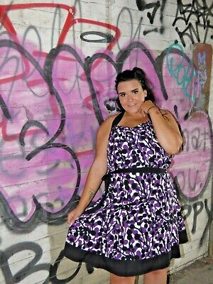 Rocha John Rocha Black White & Purple & Halter Print Vintage Style Dress UK 14 • 0.99£