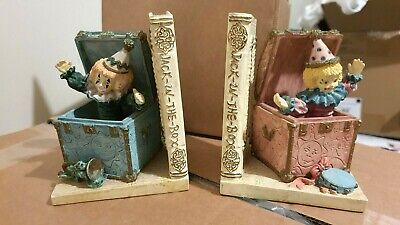 £6.18 • Buy Jack In The Box Plaster Bookends For Books Or DVDs - Blue And Pink Clowns