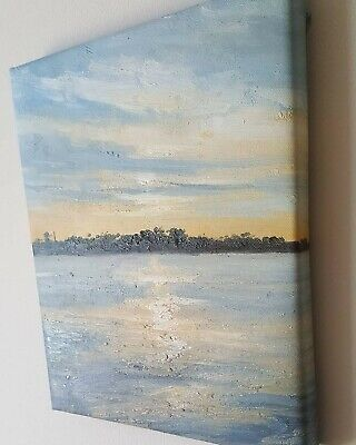 Original Landscape Oil Painting Canvas 8x10 Inches Framed Free Shipping • 42.99£
