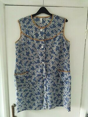 Ladies Nylon Overall Pinny Blue,White & Floral Print Yellow Edging Quality Pinny • 21.95£