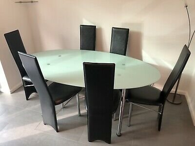 IKEA Toughened Glass Dining Table & 6 Chairs • 20£