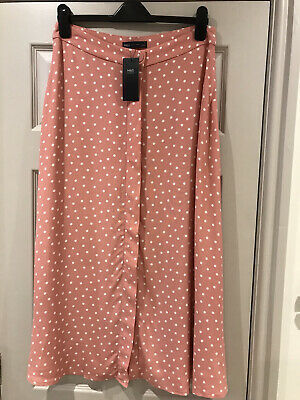 Womens Pink Polka Dot Skirt By M&S Collection Size 12 Bnwt • 15£