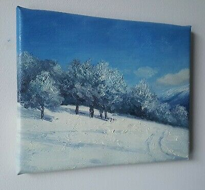 Original Landscape Oil Painting Canvas 8x10 Inches Framed Free Shipping • 59.99£