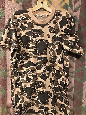 $ CDN25.23 • Buy Vintage 80s 50/50 Soft & Thin Single Stitch Duck Camo Pocket Tee T Shirt Size L