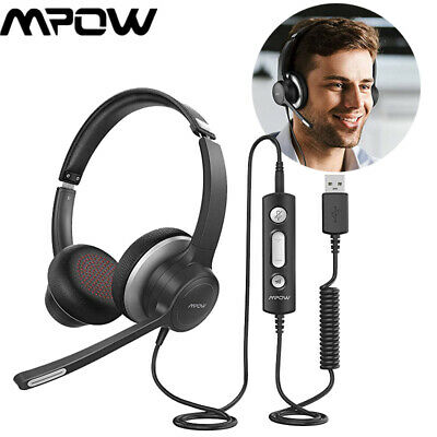 AU42.49 • Buy Mpow HC6 USB Wired On-Ear Headphones 3.5mm Noise Canceling Gaming Headset W/ MIC