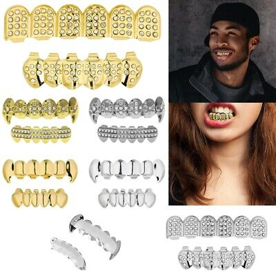 £2.99 • Buy Silver Gold Grillz 24k Plated Diamond Teeth Mouth Grills Bling Hip Hop Cosplay