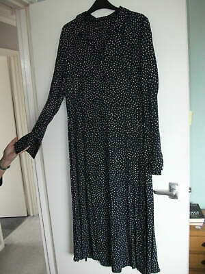 M&s Collection - Navy Polka Dot Midi Dress With Front Splits - Size 16 • 10.50£