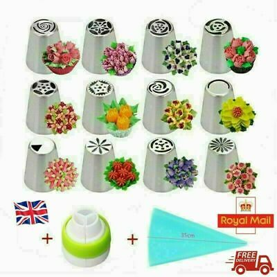 14PCS/Set Russian Stainless Pastry Tips Fondant Cake Decor Icing Piping Nozzles • 7.49£