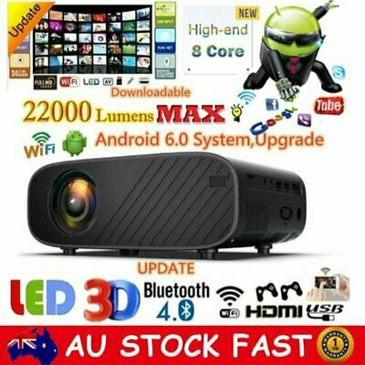 AU147.88 • Buy 22000Lumens 1080P HD WiFi LED Projector Android 6.0 Home Theater Cinema HDMI USB