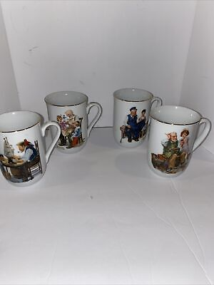 $ CDN12.61 • Buy Vintage Norman Rockwell Museum Coffee Mugs ~ Set Of 4 ~ 1982 ~ Gold Trim