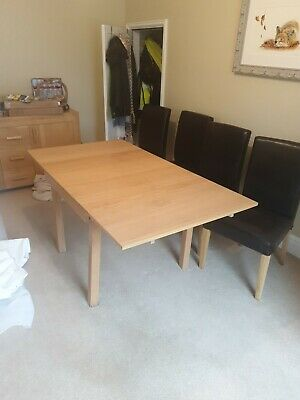 Square Ex IKEA Extendable Dining Room Table And 4 Dark Brown Chairs Used • 40£