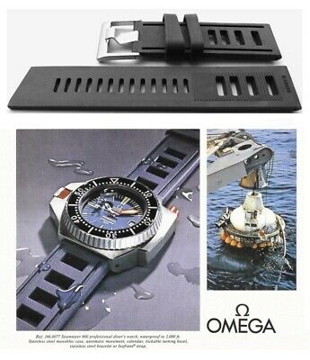 Silicone Rubber Watch Strap For Omega Seamaster. BLACK Vintage Type Dive Band. • 20£