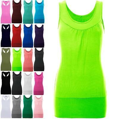 £4.99 • Buy Womens Gather Neck Ruched Ladies Sleeveless Ruched Vest Stretch Long T Shirt Top