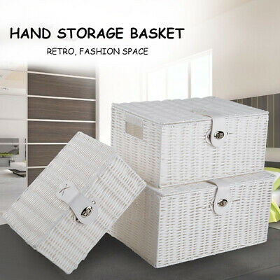 Stackable Set Of 3 Storage Baskets Resin Wicker Woven Hamper Box Lid  Lock Tidy • 8.27£