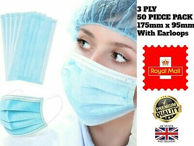 New 50 3 Ply Layer Surgical Disposable Mouth Cover Face Masks Respiration UK • 2.99£