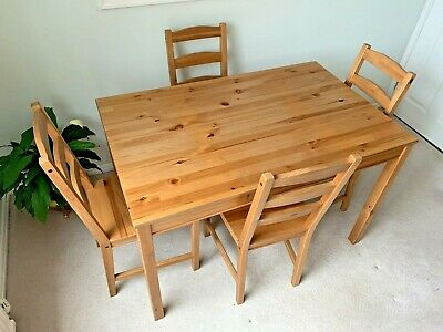 Ikea JOKKMOKK Solid Natural Pine Dining Table 118 X 74 Cm And 4 Chairs, VGC • 29.99£
