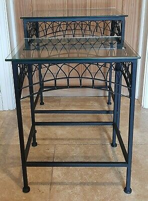 Black Metal And Glass Top Nest Of Tables  • 30£