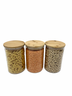 Set Of 3 Medium Glass Bamboo Lids Kitchen Food Storage Airtight Jars Canisters  • 17.99£