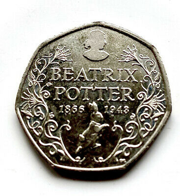2016* SILHOUETTE OF BEATRIX POTTER* 50 Pence Coin, Circulated • 1.60£