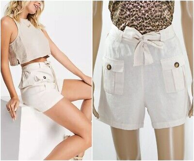 £10.99 • Buy Ex Warehouse Safari Utility Shorts With Button Pockets And Sash Belt