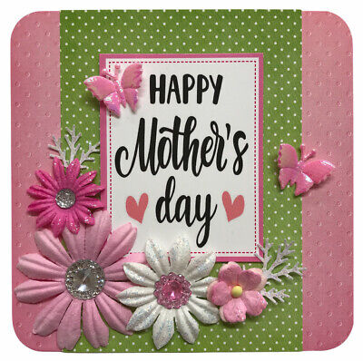"£1.49 • Buy 1 Floral Mothers Day Topper GREEN+PINK 4"" Hand Made For Card Making 10.5cm (B344"