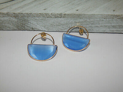 $ CDN47.34 • Buy Earrings Anthropologie Clear Glass  Blue Sky Gold Fill Half Circle Nwt