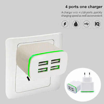 AU10.34 • Buy AU_ 4 Ports USB Home Travel Wall Green-Light Charger Adapter For Cell Phone Port