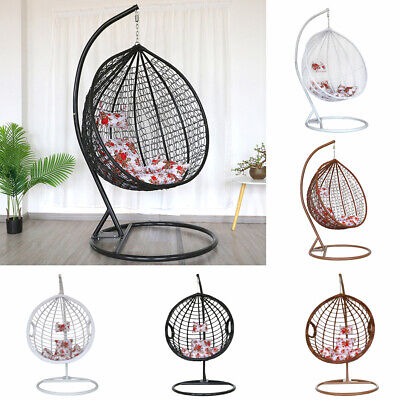 Swing Rattan Chair Hanging Egg Chair W/ Cushion Iron Stand Garden Indoor Outdoor • 319.95£