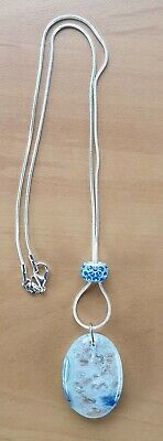 925 Sterling Silver Stamped Snake Necklace With Picture/Crackle Agate Pendant • 4.75£