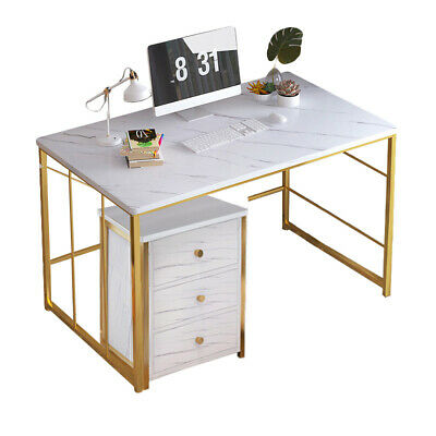 Computer Desk Study Table PC Laptop Workstation Office Home Golden White Marble • 32.99£