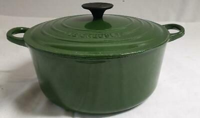 Le Creuset GREEN Round Casserole Cast Iron 24cm Pot With Lid Dark Green • 42£