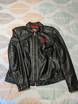 $ CDN190.27 • Buy Ladies Harley Davidson XL Black Leather Jacket Red Satin Lined Bling Embroidered