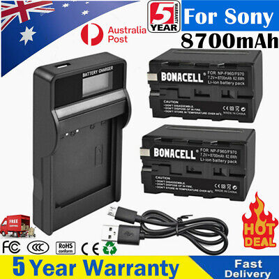 AU41.99 • Buy 2×4 X NP-F960 8700mAh Battery / Charger For Sony NP-F960 NP-F970 NP-F550 NP-F750