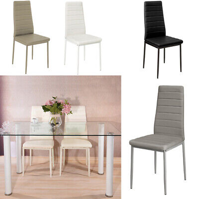 £109.95 • Buy Set Of 2 4 6 Dining Chairs High Back Faux Leather Padded Seat Kitchen Furniture