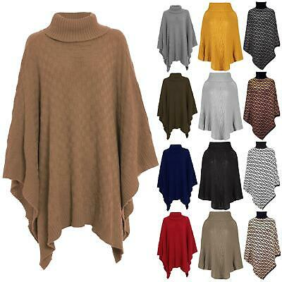 £12.99 • Buy Womens Shawl Ladies Grid Knitted Poncho Polo Neck Wrap Cape Waterfall Blanket