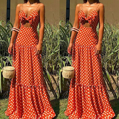 Women Dress High Waist Polka Dot Summer Long Maxi Dress Female Beach Dress • 18.86£