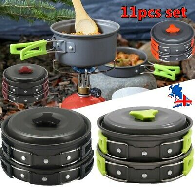 £15.99 • Buy 11Pcs/Set Portable Camping Cookware Kit Outdoor Picnic Hiking Cooking Equipment