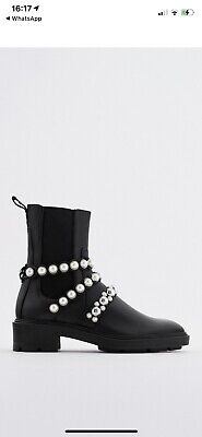 £55 • Buy Zara Black Leather Flatform Ankle Boots With Pearls Uk Sizes 6, 7 And 8