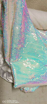 $25.80 • Buy Iridescent Pink Blue White Reversible Mermaid 5mm Sequin Fabric Flip Two Tone