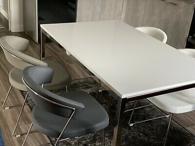 IKEA Torsby Dining Table In White + 4 Connubia Calligaris New York Chairs • 580£