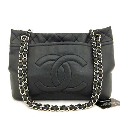 AU1337.51 • Buy CHANEL Quilted CC Logo Caviar Skin Silver Chain Shoulder Tote Bag Black /71203