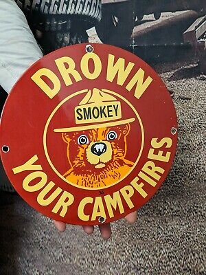 $ CDN26.01 • Buy Old Vintage Dated 1936 Smokey The Bear Porcelain Metal Sign Drown Your Campfires