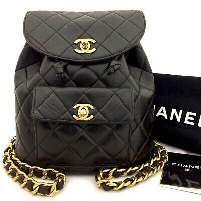 AU782.93 • Buy CHANEL Quilted Matelasse CC Logo Cotton Backpack Black /71128