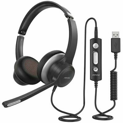 NEW Mpow USB Headset 3.5mm Computer Wired For Skype Webinar Call Center • 19.99£