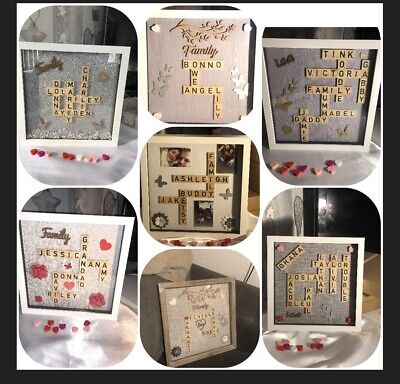 Personalised Family Children Love Birthday Name Scrabble Picture Box Frame • 16£