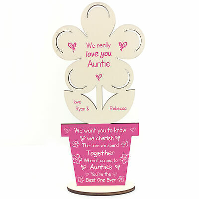 £4.99 • Buy Personalised Auntie Poem Gift For Birthday Wood Flower Thank You Sister Gift
