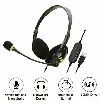 USB Headphones With Microphone Noise Cancelling Headset For Skype PC Laptop HOT • 7.52£