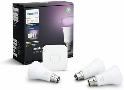 AU167.69 • Buy Philips Hue White And Colour Ambiance Starter Kit: 3x Bulb Pack LED B22 + Bridge