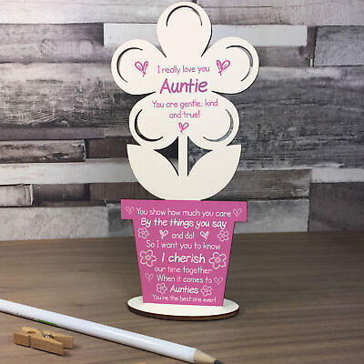 £4.99 • Buy Auntie Poem Personalised Birthday Gift For Auntie Sister Wood Flower Thank You