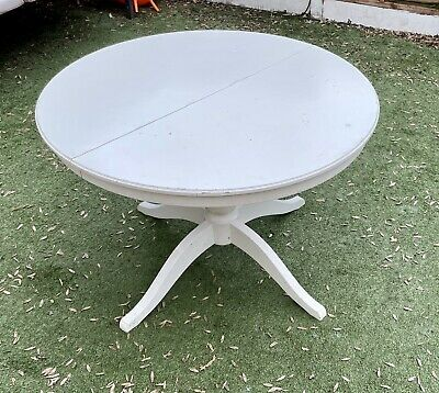 White Round Extending Dining Table W/ 4 Black Chairs • 12.70£